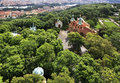 Church of st lawrence view from petrin lookout tower Royalty Free Stock Photos