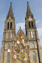 Church of St. Ludmila with Easter decoration Stock Photos