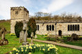 Church of st michael and all angels hubberholme view daffodils in the grounds the historic in upper wharfdale yorkshire Stock Photo