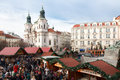 Church of st nicholas christmas market in front at prague czech republic Royalty Free Stock Photos