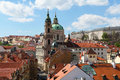 Church st nicholas view lesser town bridge tower prague Royalty Free Stock Photos