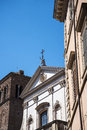 Church with a stags head over the facade in Rome Italy that has books as the main theme Royalty Free Stock Photo
