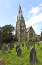 A Church Steeple and Burial Ground, Ambleside Stock Photo
