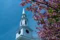 Church steeple framed by cherry blossoms in lexington massachusetts usa a is the of a tree Stock Photo