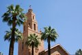 Church Steeple with Palm Trees Royalty Free Stock Image