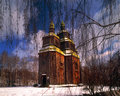 Church of sts paraskeva out with zarubintsy high ancient cathedral looks beautiful through the birch buds preparing to spring Royalty Free Stock Photos