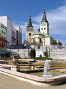 Church, theatre and fountain in Zilina Royalty Free Stock Photography