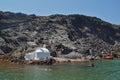 Church to hot volcanic springs,  Santorini, Thira Island,  Cyclades Islands Royalty Free Stock Photo