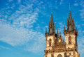 Church top of Our Lady before Tyn in Prague Royalty Free Stock Photo