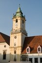 Church tower in bratislava the old town hall from slovakia Royalty Free Stock Photos