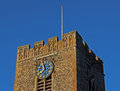 Church tower exterior detail with clock Royalty Free Stock Photo