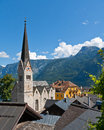 Church Tower in Hallstatt, Austria Royalty Free Stock Images