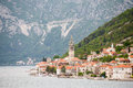 Church tower on montenegro coast old city with red tile roofs and a the of Royalty Free Stock Photos
