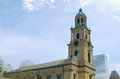 Church Tower and Nave in Cathedral Plaza Royalty Free Stock Photo