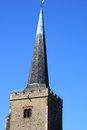 Church tower pointed small parish Stock Photography