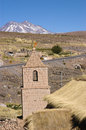 Church tower socaire in the chilean altiplano chile antofagasta region Royalty Free Stock Photos