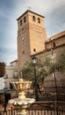 Church tower in spain stone of a almeria Stock Photos