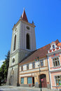 Church tower of virgin mary assumption in the city blatna on the peace square at czech republic Royalty Free Stock Photography