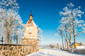 Church tower in winter Royalty Free Stock Photo