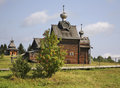 Church of transfiguration and watchtower in khokhlovka perm krai russia Stock Image