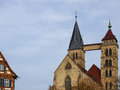 Church twin steeples the of st dionys parish esslingen near stuttgart germany Stock Image
