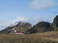 Church in vik iceland photo of a up hill Royalty Free Stock Photography