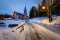 Church in the village of madonna di campiglio in the morning italian alps italy Stock Photography