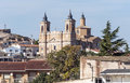Church of a village of zaragoza with bell and clock it is sunny day Royalty Free Stock Photo
