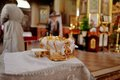 Church wedding two crowns the weddings intended for ceremony in orthodox Royalty Free Stock Image