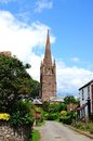 Church in weobley village centre st peter and st paul spire at the end of a street herefordshire england uk western europe Royalty Free Stock Photo