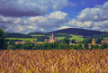 Church in wheat field in a village , Burgundy Royalty Free Stock Photo