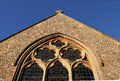 Church window  detail with clock Royalty Free Stock Photo