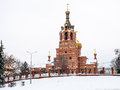 Church in the winter. Orthodox Cathedral in Russia. Royalty Free Stock Photo