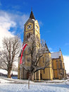 Church in winter protestant the austrian village ramsau am dachstein the village is very popular for cross country skiing Royalty Free Stock Photos