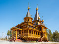 Church wood in siberia russia Stock Photos