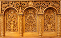 Church woodcut of interior with ornaments Royalty Free Stock Images