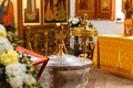 Church worship orthodox and the interior a cross and candles during Royalty Free Stock Photos