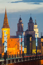 Churches in kaunas lithuania vytautas the great aleksotas bridge Royalty Free Stock Photo