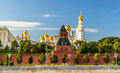 Churches in Moscow Kremlin over the river Royalty Free Stock Photo