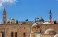 Churches and mosques in jerusalem israel belfries domes of christian minarets of under blue sky Royalty Free Stock Images