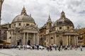 Churches twin rome italy may many tourists who visit the piazza del popolo and the dedicated to santa maria in santa maria Stock Photography
