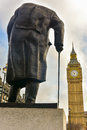 Churchill - Houses of Parliament - London Royalty Free Stock Photo