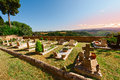 Churchyard on the background of the tuscan landscape at sunset Royalty Free Stock Photo