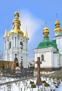 Churchyard at Kiev Pechersk Lavra in snow Royalty Free Stock Photos