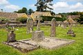 Churchyard lower slaughter gravestones in st marys cotswolds gloucestershire england uk western europe Stock Photos
