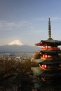 Chureito pagoda japan churieto with mt fujiyama Stock Photography