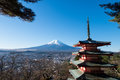 Chureito pagoda and Mount Fuji view point in winter. Royalty Free Stock Photo
