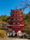 Chureito red pagoda at fuji mt japan and blue sky Royalty Free Stock Images