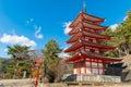 Chureito red pagoda in winter Royalty Free Stock Photo