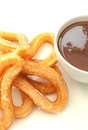 Churros with chocolate traditional spanish donuts thick hot in a cup Stock Images